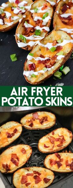 These Air Fryer Potato Skins use cooked potatoes and take less than 10 minutes to make! Serve these on game-day or as a delicious appetizer! Air Fryer Recipes Easy, Easy Appetizer Recipes, Yummy Appetizers, Dinner Recipes, Potato Skins Appetizer, Potatoe Skins Recipe, Fast Healthy Meals, Easy Meals, Healthy Foods