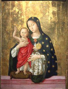 Antoniazzo Romano (born Antonio di Benedetto Aquilo degli Aquili, ca.1430 - deceased April 17, 1508, in Rome): Virgin and Child (1486, Velletri)