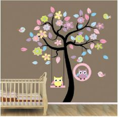 "Nursery Wall Decals: Huge Removable Swing Owl & Birds Colorful Scroll Tree Wall Art Decal Stickers for Nursery 67""h*63""w from ZooYoo. ............ Get Wall Decals at Amazon from Wall Decals Quotes Store"