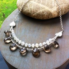 Moonstone Smokey Quqrtz and sterling silver necklace from the collection Kew Gardens www.chokerbali.com