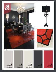 Black, White and Red Star 1 color scheme for dining room. ** shades of gray I'm digging*