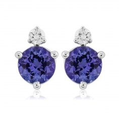 Rudells 18ct White Gold Round Tanzanite and Diamond Stud Earrings - Small Image