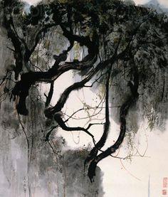 Wu Guanzhong Love the distinction between light & dark.