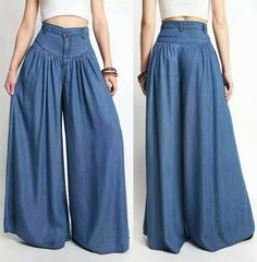 Stylish Women Flared Wide Leg Pants Loose Palazzo Trousers High Waist Baggy Pants Plus Size 80s Fashion, Denim Fashion, Fashion Pants, Trendy Fashion, Boho Fashion, Fashion Dresses, Casual Dresses, Wide Leg Denim, Wide Leg Pants