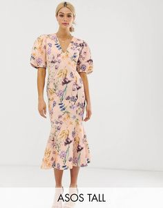 Buy ASOS DESIGN Tall botanical floral bubble sleeve seamed midi dress at ASOS. With free delivery and return options (Ts&Cs apply), online shopping has never been so easy. Get the latest trends with ASOS now. Pleated Midi Dress, Maxi Wrap Dress, Maxi Dresses, Party Dresses, Cheap Wedding Guest Dresses, Cocktail Wedding Attire, Wedding Guest Outfit Inspiration, Forest Green Dresses, Asos