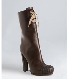 Fendi dark brown leather and rubber toe lace up boots $599.99