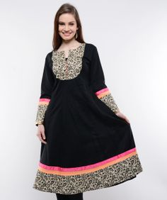 A traditional powerhouse that packs a punch, sounds like our edit of casual summer kurtis. These ethnic numbers go well with leggings or denims. From bright summer hues to ice-cream colors, these kurtis spell elegance and accentuate your curvaceous figure. So, come take a look at our rich designs and prints and take your pick. We guarantee you'll still be turning heads in this Indian attire.BRAND: NavyouCATEGORY: KurtaCOLOUR: Black and BeigeMATERIAL: Cotton Blend