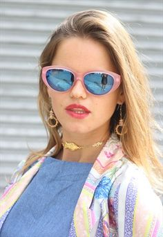 1990's Pink & Blue Cats Eye Sunglasses