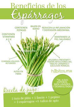 Espárragos y beneficios para el organismo. con habitos.mx #Esparragos #ComerSano #DietaVerde