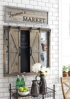 Sliding Barn Door Chalkboard Wood Wall Decor Farmhouse Style