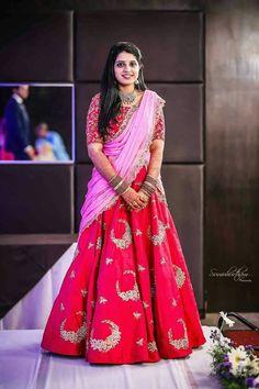Bridal Designer Red and Pink Banglori Silk Embroidered Lehenga Choli