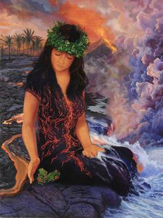Pele, Hawaiian Goddess of volcano Hawaiian Mythology, Hawaiian Goddess, Hawaiian Legends, Hawaiian Art, Polynesian Art, Polynesian Culture, Sacred Feminine, Divine Feminine, Art Magique