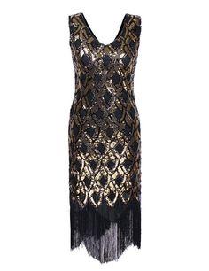 PrettyGuide Damen 1920er Klassiker tiefem V Ausschnitt Mermaid Pailletten Flapper Kost¨¹m Kleid Gold M: Amazon.de: Bekleidung