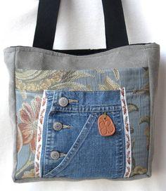 SALE Tote Bag Blue Floral Denim Mocha Organizer Terra Cotta Shamrock…