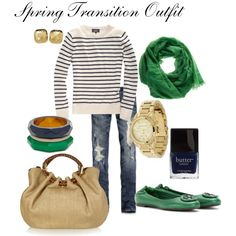 spring transition outfit; using stripes & pops of color. Love everything about this outfit. Especially the emerald green!