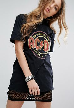 gUp your AC/DC T-shirt collection with this dark vintage number and match with distressed denim and fresh sneaks
