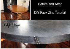 Step by step tutorial about how to create a faux zinc finish using Paint Couture and Glaze Couture. Diy Furniture Table, Furniture Projects, Furniture Makeover, Refinished Furniture, Funky Furniture, Painting Furniture, Custom Furniture, Furniture Design, Zinc Table