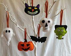 Décorations d'Halloween - feutre - Bat, crâne, chat, citrouille, Frankenstein, Ghost