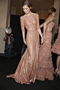 nude runway gown