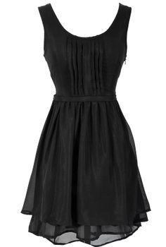 Pleat Front Asymmetrical Hemline Dress in Black