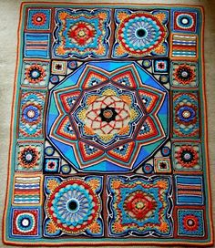 Beautiful crochet Afghan - pattern no longer available Crochet Diy, Crochet Afgans, Manta Crochet, Crochet Home, Crochet Motif, Crochet Crafts, Crochet Stitches, Crochet Projects, Crochet Patterns