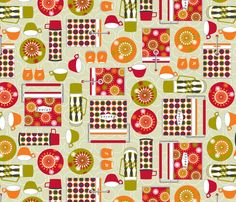 retro picnic fabric by cjldesigns on Spoonflower - custom fabric