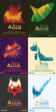 Some amazing posters by Marinko Illustration for Zelda games. I want the Link to the Past one so bad.