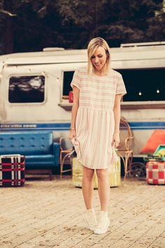 Jacey of Damsel in Dior keeps it casual in an Old Navy Striped Linen-Blend dress.