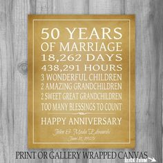 Golden Anniversary Gift Grandparents 50 Years Personalized Print Or Canvas Keepsake For Parents Customized Words