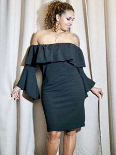 b36eef9fa3 Off The Shoulder 3 4 Sleeve Dress