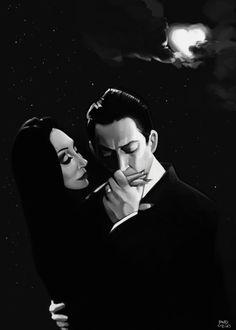 Gomez and Morticia Addams Art Print