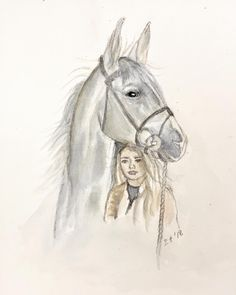 Horse and rider (ElinArt - November watercolors Watercolors, November, Horses, Animals, Instagram, Art, Animales, Watercolor Paintings, Animaux