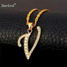 Initial V Letter Pendants Necklaces Women Men Gift Cubic Zirconia Alphabet Jewelry Gold Color Name Necklace