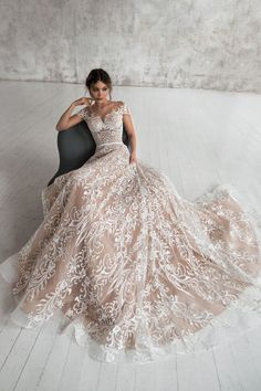 Stunning Embroidered Nude Sweetheart A-Lane Wedding Dress / Bridal Gown with Off Shoulder Illusion, V-Back Cut Illusion and a Train. Dress by Natalia Romanova Beige Wedding Dress, Amazing Wedding Dress, Stunning Wedding Dresses, Best Wedding Dresses, Designer Wedding Dresses, Bridal Dresses, Maternity Wedding Dresses, Vintage Boho Wedding Dress, Rustic Wedding