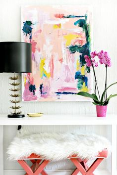 Foyer Refresh: DIY Abstract Art and Painted Black Door- via Burlap and Lace