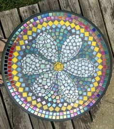 Outdoor side table- my first mosaic piece.