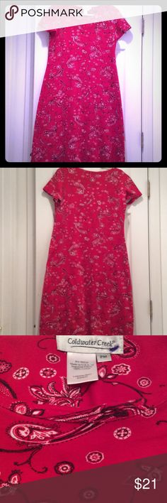 """COLDWATER CREEK RED BANDANNA DRESS BEAUTIFUL RED BANDANNA STRETCH TEE LIKE MATERIAL DRESS WITH SHORT SLEEVES. SIZE PM. BUST 40"""" LENGHT 44"""". BRAND NEW MAYBE WORN ONCE. Coldwater Creek Dresses Midi"""
