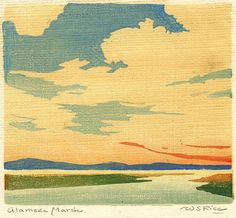 """✨ William S. Rice, American (1873-1963) - Alameda Marsh, c. 1920, Color Woodcut on laid Japanese, pencil signed and titled, fewer than 12 impressions, 4 3/4 x 5 3/8"""""""