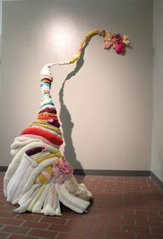 Phoenix, 2011   reclaimed fabric, pins    2.5'L x 7'H x 2.5'D
