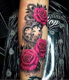 Roses and vintage watch tattoo – Rose Tattoos Mommy Tattoos, Dope Tattoos, Girly Tattoos, Hand Tattoos, Pretty Tattoos, Forearm Tattoos, Beautiful Tattoos, Body Art Tattoos, Tatoos