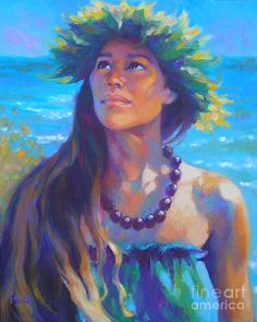 Hawaiian Painting - Listening To Aumakua by Isa Maria Hawaiian Woman, Hawaiian Art, Hawaiian People, Hawaiian Dancers, Polynesian Art, Polynesian Culture, Hula Dancers, Vintage Hawaii, Thing 1