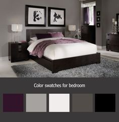 master bedroom grey walls white curtains purple accents - Google Search