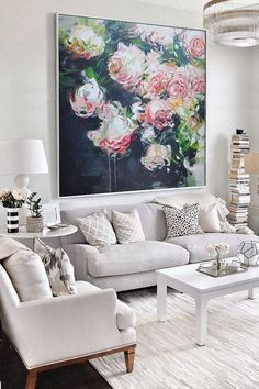 Large Abstract Flower Oil Painting, Floral art canvas painting, hand painted white rose painting on canvas. Oil Painting Flowers, Abstract Flowers, Oil Painting On Canvas, Abstract Art, Painting Art, Painting Classes, Large Painting, Painting Doors, Painting Trees