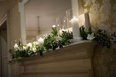 Where can I find a green garland for mantle decor on the cheap? Wedding Mantle, Garland Wedding, Wedding Flowers, Wedding Fireplace Decorations, Church Wedding, Wedding Ceremony, Ceremony Decorations, Christmas Decorations, Christmas Garlands
