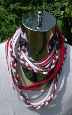 infinity tee shirt scarf with BRAID Braided Scarf, Diy Braids, Sweet Home Alabama, Scarf Shirt, Handmade Scarves, University Of Alabama, Alabama Football, Alabama Crimson Tide, Roll Tide