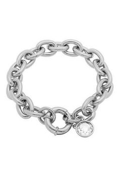 Simulated Diamond Charm Link Chain Bracelet by HMY Jewelry on @HauteLook