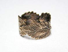 Forest Leaf Ring band br by chinookhugs on Etsy