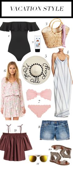 RD's Obsessions: Vacation Style, vacation style, off the shoulder one-piece, one-piece swimsuit, korean face sunscreen, straw tote, rose all day floppy hate, mirrored sunglasses, how to make for a vacation, winter getaway