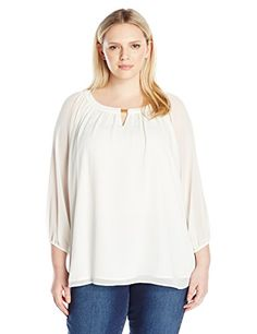 Calvin Klein Womens Plus Size 34 Sleeve Top W Bar Hardware Soft White 3X ** Want additional info? Click on the image. #fslc