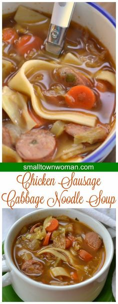 This Savory Chicken Sausage Cabbage Noodle Soup combines hearty chicken sausage, carrots, celery, onion, cabbage and noodles in a perfectly seasoned quick to fix soup.